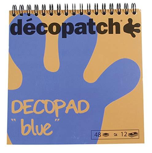 Décopatch BLOC04O Décopad Block (praktisch und einfach zum Verwenden, 48 Blatt, 12 verschiedenen Motiven, 15 x 15cm, ideal für Ihre Pappmachés und Bastelprojekte) 1 Block blau