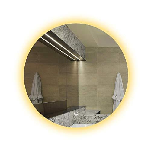 Miroir Miroir Mural Rond Pour Salle De Bains Lumière Chaude LED Avec Interrupteur Tactile Et Fonction Anti-buée (taille : 80cm)
