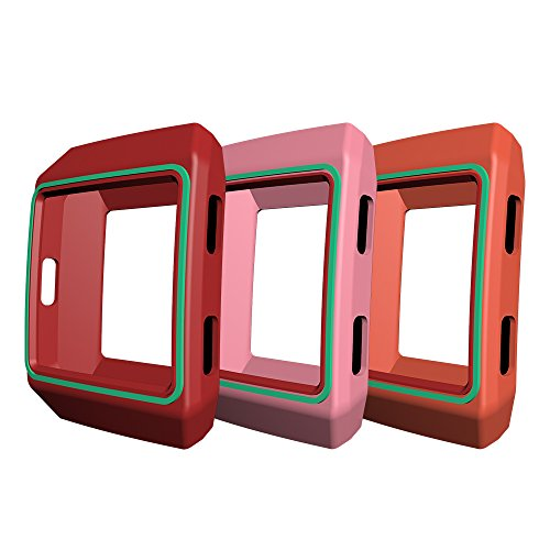 AWINNER Colorful Case for Fitbit Ionic,Shock-Proof and Shatter-Resistant Protective Silicone Case for Fitbit Ionic Smartwatch (Pink,Red,Orange)