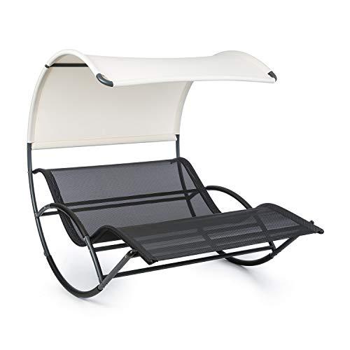 Blumfeldt The Big Easy - Chaise Longue à Bascule, Ergonomique, Résistant aux intempéries, Toit imperméable, Protection UV, Acier, Usage intérieur et extérieur, Max. 350 kg, Noir