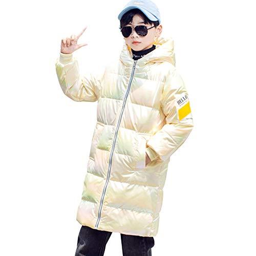 LSHEL - Abrigo de plumón para niño, unisex, grueso, para invierno beige 11-12 Años