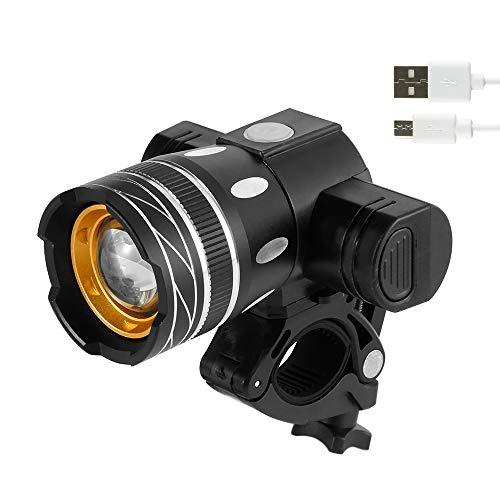 Keyohome LED Fahrradlicht Set LED Fahrradbeleuchtung,Fahrradlampe fahrradlichter, Fahrradscheinwerfer Zoom USB Wiederaufladbares Upgrade Fahrradzubehör aus Aluminiumlegierung
