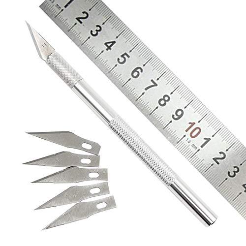 NoyoKere 1 Set Metallgriff Skalpell Klingenmesser Holz Papierschneider Craft Pen Gravur Schneidzubehör DIY Briefpapier Gebrauchsmesser
