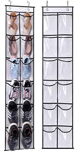 MISSLO Over The Narrow Door Shoe Organizer with 12 Crystal Pockets Hanging Closet Door 2 Packs White