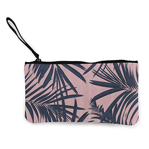 Change Cash Purse, zomer exotische tropische tropische palm canvas canvas portemonnee portemonnee voor party shopping walking,22 (L) x12 (W) cm