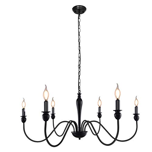 LWYTJO 6 Lights Farmhouse Chandelier, Black Mid-Century Candle Chandeliers Ceiling Light, Classic Wrought Iron Candle Chandelier Fixture, for Kitchen Island Bedroom Dining Room Hallway and Foyer Cafe