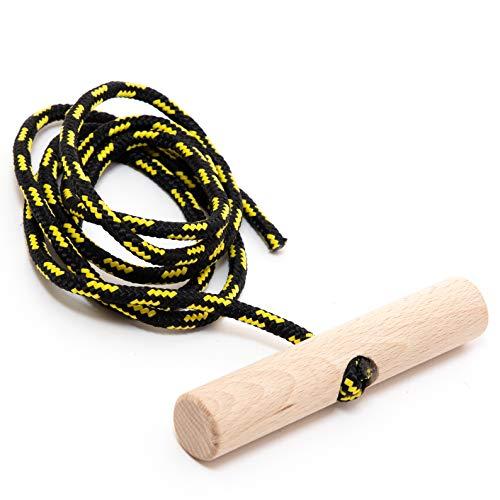 Holzfee Schlitten-Leine 135 cm Schwarz Gelb mit Buchenholz-Griff