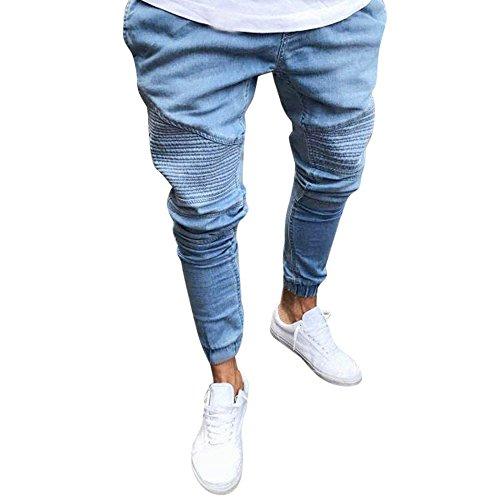 VPASS Pantalones Vaqueros para Hombre,Pantalones Color sólido Casuales Moda Jeans Rotos Trend Largo Pantalones Pants Skinny Pantalon Fitness Jeans Largos Pantalones Ropa de Hombre