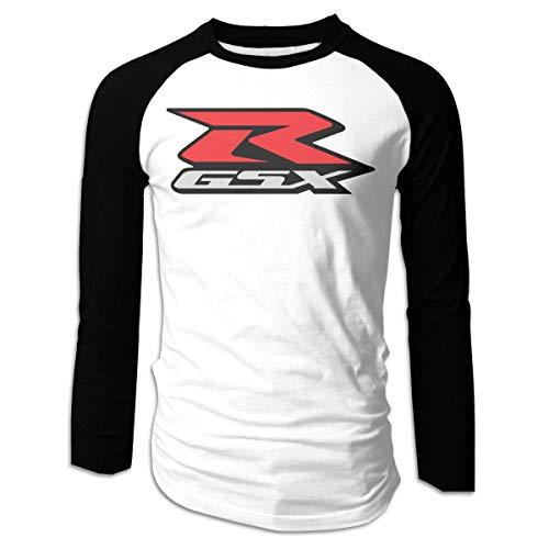 GDESFR Herren Suzuki-gsx-r-Logo Herren Langarm Baseball T-Shirts Lustige Baumwolle Tank Top Shirt Schwarz
