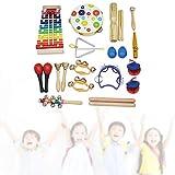 Shanbor Instrumento Musical para niños Castañuelas de Madera Niños Que aprenden Sonido Claro Campana de Hierro Inoxidable Desarrollan la cognición para Aprender Educación