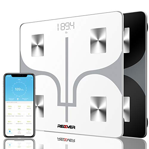 REDOVER-Bluetooth Body Fat Scale with Free IOS and Android App, Smart Wireless Digital Bathroom Scale for Body Weight, Body Fat, Water, Muscle Mass, BMI, BMR, Bone Mass and Visceral Fat, 400lb (White)