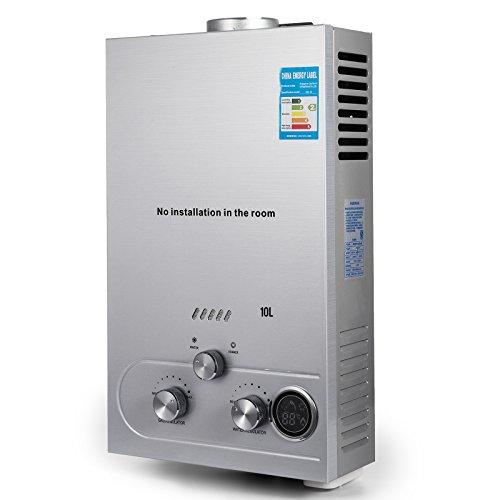 Chauffe-eau LPG 10L Gaz Propane 16KW Instantané avec écran LED
