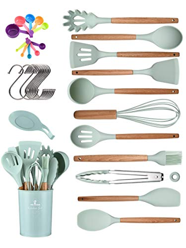 chicNsleek Kitchen Utensil Set, 33 Pcs Non-Stick Cooking Silicone Kitchen Utensils Set with Holder Wooden Handle Turner Tongs Spatula Spoon for Baking BPA-Free Heat Resistant Kitchen Gadgets Tools