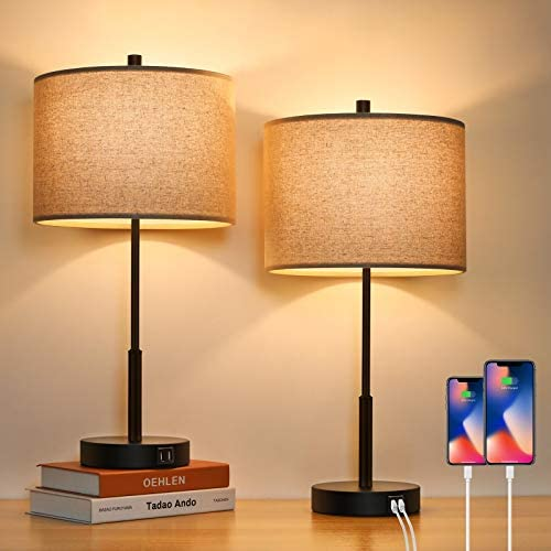 Set of 2 Touch Control Tall Table Lamps with 2 USB Ports 3 Way Dimmable Modern Bedside Nightstand product image