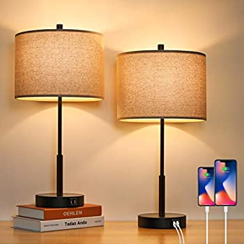 2-Pack BesLowe 3-Way Dimmable Touch Control Lamp with 2 USB Ports