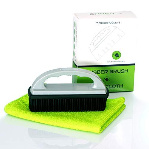 CAREApro ® Rubber Brush + Reinigungstuch - Tierhaarentferner - schnell & einfach Hundehaare entfernen - Hundehaarentferner - Auto Polsterbürste