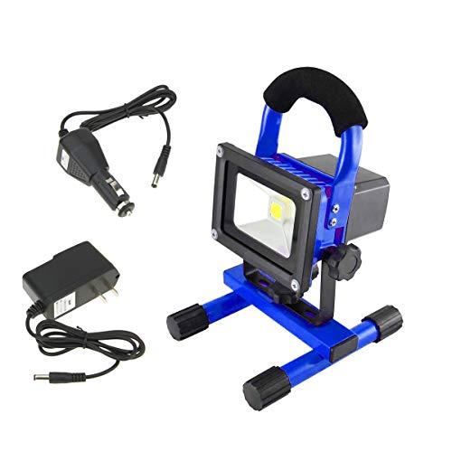 10W LED Baustrahler AKKU - LED Strahler Tragbare Warmweiß Arbeitsscheinwerfer Fluter Wasserdicht IP65, Blue (10W Warmweiß)