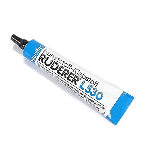 3 Stück/ Tuben RUDERER L530 Acrylglas Kleber | TRANSPARENT | WASSERFEST | Kunststoffkleber | Modelbau Klebstoff | ABS, Polystyrol, PVC, ASA, Holz, Metal , Keramik, Textil