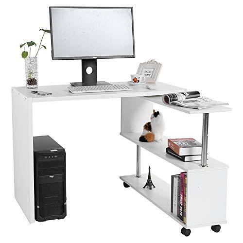 DDFGDFSA 360 Grad drehbarer L-förmiger Eckcomputer-Schreibtisch mit Buchregal-Hauptschreibtisch-Handelsmöbeln,Weiß