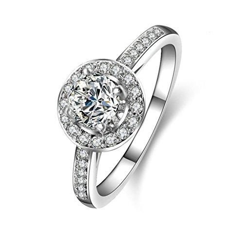 Anyeda Schmuck Silber Ring 925 Ringe Runde Cz Pflastern Silber Graviert Ringgröße 63 (20.1)