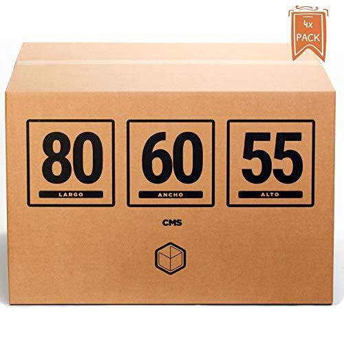 TeleCajas® | Cajas de Cartón Gigantes | Doble Pared REFORZADA | 80x60x55 cms | Pack de 4 uds (4x)