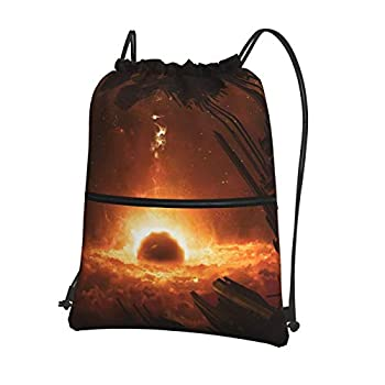 H-God Mass Effect 2 Drawstring Backpack Water Resistant String Bag Sports Sackpack Gym Sack With Side Pocket For Men Women