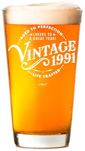 1991 30th Birthday Gifts Beer Glass Men Women   Birthday Gift for Man Woman turning 30   Funny 30 th Party Supplies Decorations Ideas   Thirty Year Old Bday   35 Years Gag Vintage Pint Dude Presents