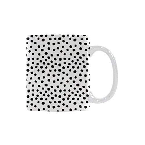 Queen54ferna Taza de café de cerámica – Taza de té blanca personalizada de 11 onzas – Lunares – oficina, hogar, regalo de cumpleaños