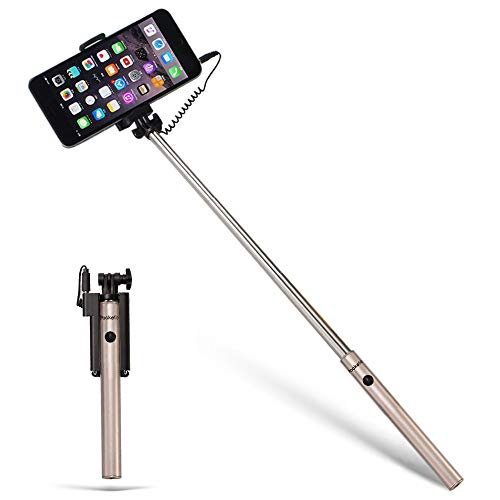 Pockefie Wired Selfie Stick Mini Battery-Free Non Bluetooth, Extendable Handheld Lightweight Compatible with iPhone Android Smartphones - Gold