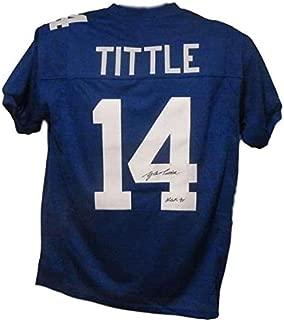 Y.A. Tittle Signed Jersey - YA Blue XL Poly HOF 13603 - Autographed NFL Jerseys