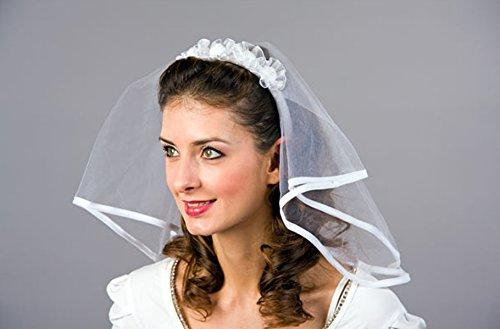 Amakando Bandeau de Mariage avec Voile diadème avec Voile mariée Serre-tête Accessoire Noces Bijou