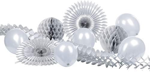 Heku 30008-23: Party-Deko-Set mit Wabenbällen, Dekofächern, Einer Girlande aus Papier und Luftballons, 10-teilig, Silber