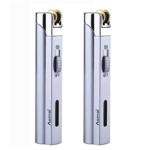Windproof Jet Torch Butane Flame Butane Viewable Cigar Cigarette Lighter with Lock Silver (2 Packs)