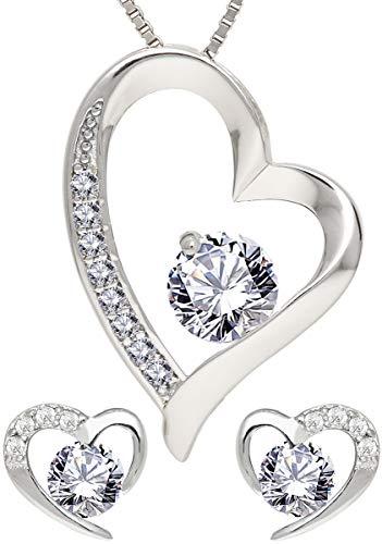 KianaLice My Heart 925 Sterling Silber Schmuckset mit Weiß Zirkonia Stein bestehend aus Herz Anhänger, Ohrstecker und 45 cm Damen Halskette im Etui