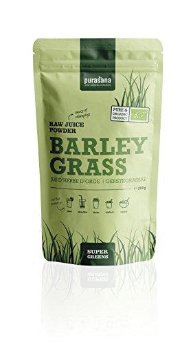 Purasana Bio Gerstengras Saftpulver 200g, vegan zertifizierte Spitzenqualität ohne Zusatzstoffe - als Trinkkost und Basenpulver 100% löslich