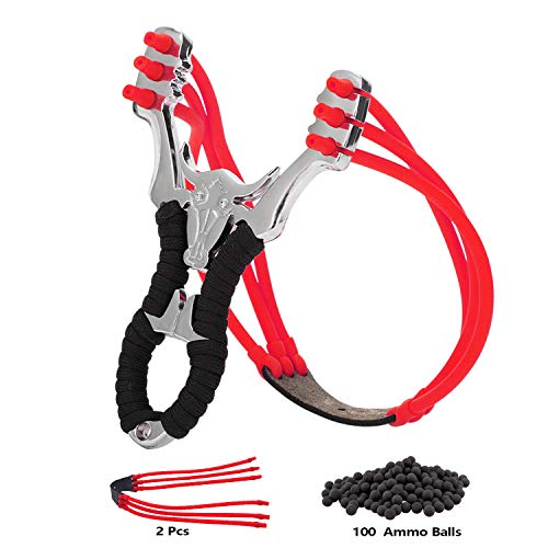 Sankoly Professional Hunting Slingshot Set, Wrist Rocket Slingshot Y Shot Hunting Slingshot with 100 Ammo Balls and 2 Heavy Duty Launching Bands