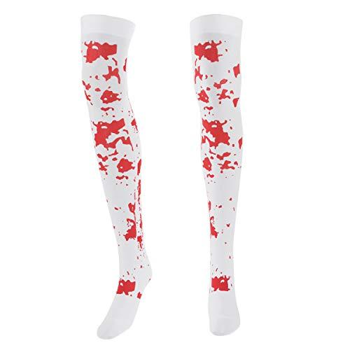YOOJIA Damen Halloween Horror Kostüm Halterlose Strümpfer Blutflecken/Skelett Tattoo Socken über Knie Strümpfe Cosplay Kostüm Leggins Weiss One Size