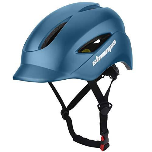 Shinmax自転車ヘルメット LEDヘルッドライト付き CPSC認証 サイクリングヘルメット 超軽量 高剛性9通気穴 サイズ調整可能 頭守る スケートボード キックボード インラインスケート BMX MTBなど 男性と女性も適用 57cm-63cm