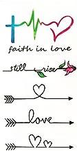 Set of 2 Waterproof Temporary Fake Tattoo Stickers Watercolor Love Faith Black Arrow