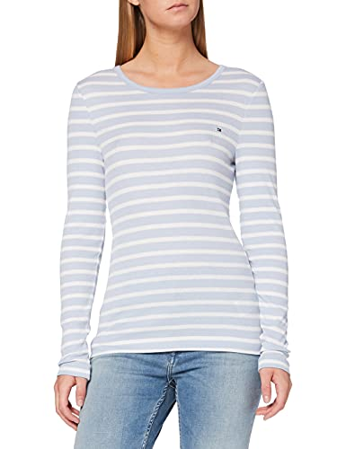 Tommy Hilfiger TH ESS Skinny Open-NK Rib Top LS Camisa, Blue, L para Mujer