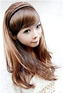 Colorful-storelong Hair Fashion Hot Synthetic Curly/wavy Hair Extensions with Braid Headband Light Brown