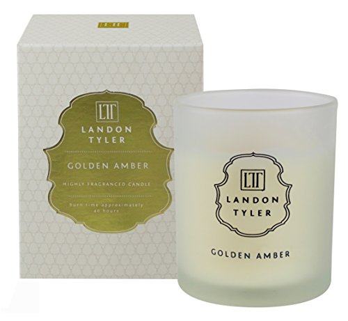 Landon Tyler Golden Amber   Scented Wax Candle Set With Fragrance Notes of Frankincense, Rose & Sandalwood   Candles for Bedroom Living Room Office Bathroom & for Stress Relief   40h Burn Time   200g