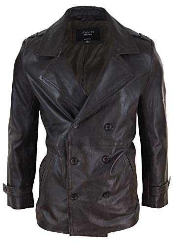 Infinity Mens Real Leather 3/4 Double Breasted Pea Coat Sherlock Brown Sailor Classic - Brown s
