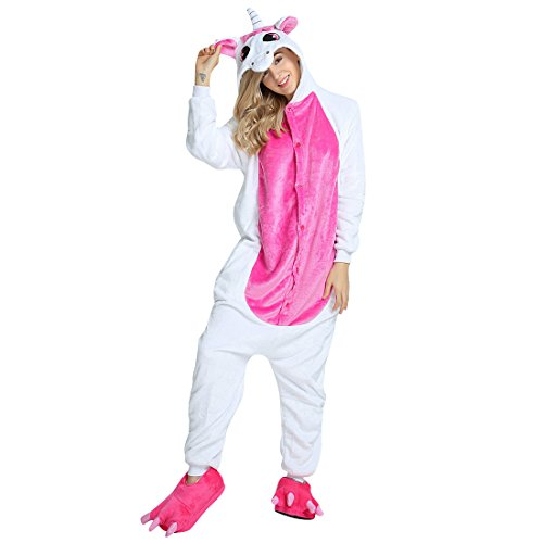 Luckly Cloud-UK Unisex winter-warmer weicher plüsch flanell baby body unicorn pyjamas one piece tier cosplay geschenk für von 100cm bis 0cm) erwachsenengröße m (150cm -160cm) pegasus rose rot