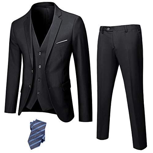 YND Men's Slim Fit 2 Button 3 Piece Suit Set, Blazer Jacket Vest Pants and Tie, Solid Wedding Dress Tux and Trousers Black