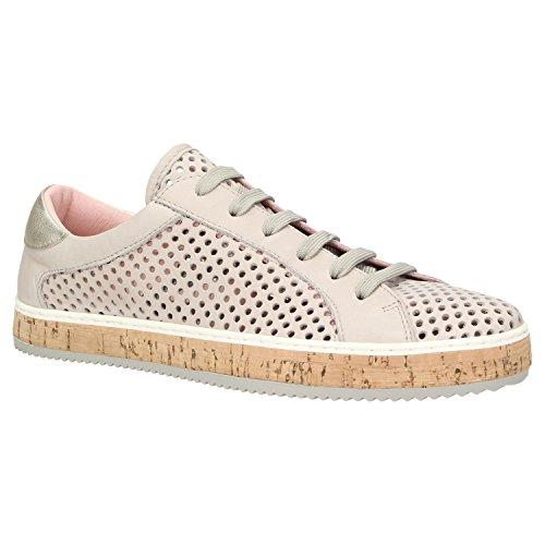 Zweigut® komood #333 Damen Sommer Sneaker Leder Schuh Freizeit metallic Lochmuster atmungsaktiv, Schuhgröße:40, Farbe:grau