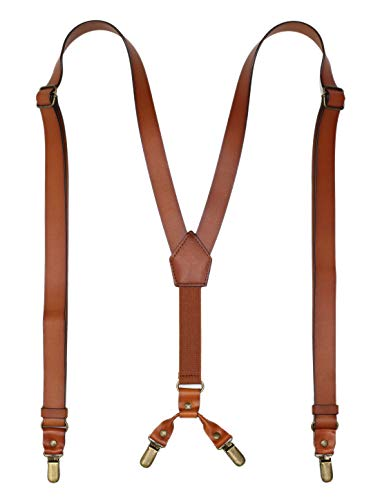 Leather Suspenders for Men Y Back Design Adjustable Suspender with 4 Metal Clips Groomsmen Gift Wedding Brown