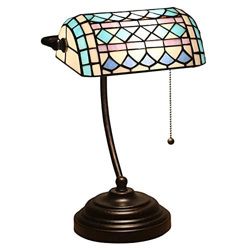 MISLD Lámpara De Escritorio De Mesa Tiffany, Lámpara De Banquero Mediterránea De 15 Pulgadas