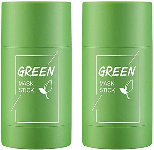 2PCS Green Tea Purifying Clay Stick Deep Cleansing Mask Oil Control Anti-Acne Aubergine Fine Solid, Acne Cleansing Solid Mask Green Tea Blackhead Remover Face Mask Pores Shrink (2PCS green tea)