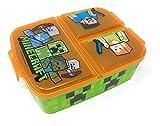 Kinder Brotdose mit 3 Fächern, Minecraft Lunchbox,Bento Brotbox für Kinder - ideal für Schule,...